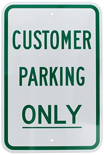 """SmartSign 3M Engineer Grade Reflective Sign, Legend """"Customer Parking Only"""", 18"""" high x 12"""" wide, Green on White"""