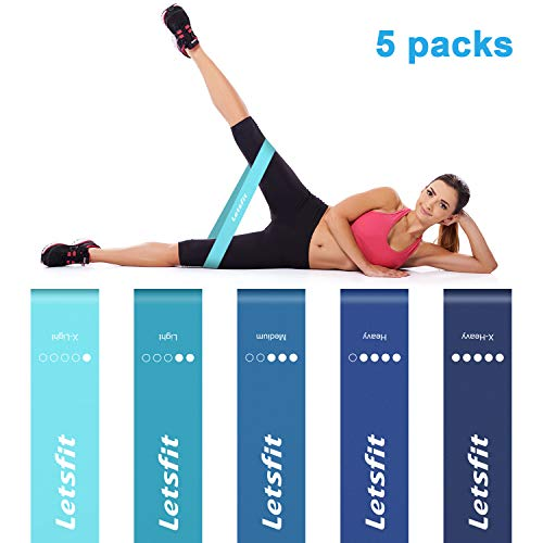Letsfit Resistance Loop Bands, Exercise Bands for Women, Fitness Resistance Band Perfect for Fitness Injury Rehabilitation Body Shaping Weight Loss Yoga Booty Building w/Carry Bag