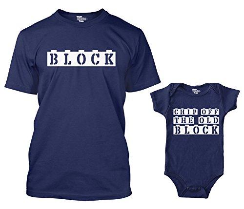 Block/Chip Off The Old Block Matching Bodysuit & Men's T-Shirt (Navy/Navy, Large/Newborn)