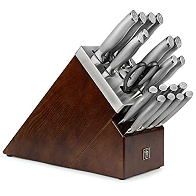 J.A. Henckels International Self-Sharpening Knife Block Set - Forged Stainless Steel Modernist - 20 Piece