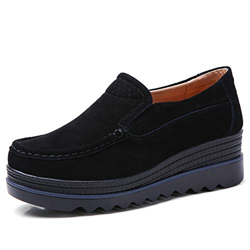 HKR HWT1099heise40 Womens Casual Platform Shoes Slip On Wide Width Loafers Comfortable Wedge Sneakers Black 8 W US