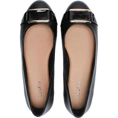 Luoika Women's Wide Width Flat Shoes - Comfortable Decoration Buckle Round Toe Ballet Flats. (181160 Black PU,8.5WW)