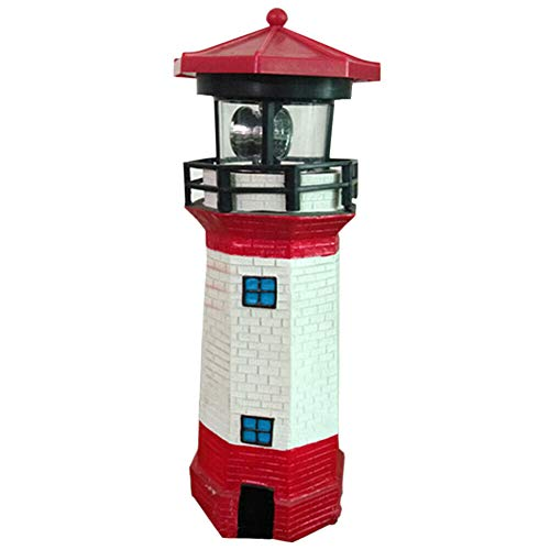 TRRAPLE Outdoor Decorative Lighthouse, Solar Lighthouse with Rotating Lamp, 1 Pcs Red and White Lighthouse for Garden Patio Lawn Home Decor ()