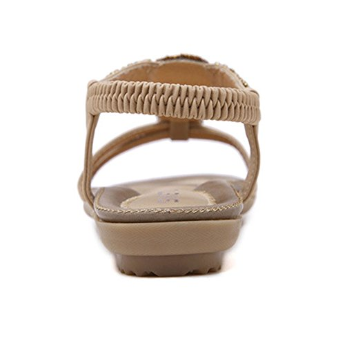 Mujeres Bohemia Sandalia Romanas Zapatos De Playa Calzado Chanclas Chancletas Zapatos Planos Flip Flop Albaricoque
