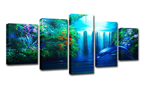 Dolphin Waterfall (FOLOIN HD Printed Wall Art Pictures Home Decor Living Room Frame 5 Pieces Calming Dolphin Waterfall Poster Landscape Canvas Paintings)