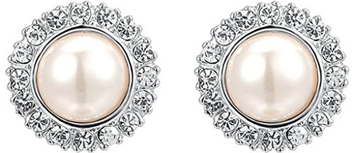 Gnzoe Women's Girl's 18k Gold Plated Stud Earrings Crystal CZ Pearl Plating White Gold, Antiallergy (Brooch 9k Yellow)