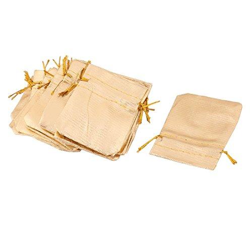Portal Cool Gold Tone 25pcs: Plastic Family Sundries Jewelry Ring Earrings Necklace Holder Drawstring Bag 25 Pcs Gold Tone