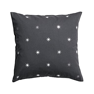 Accent Decorative 100% Cotton Throw Pillow Cover Cushion 20 X 20  Gray and White Star Print