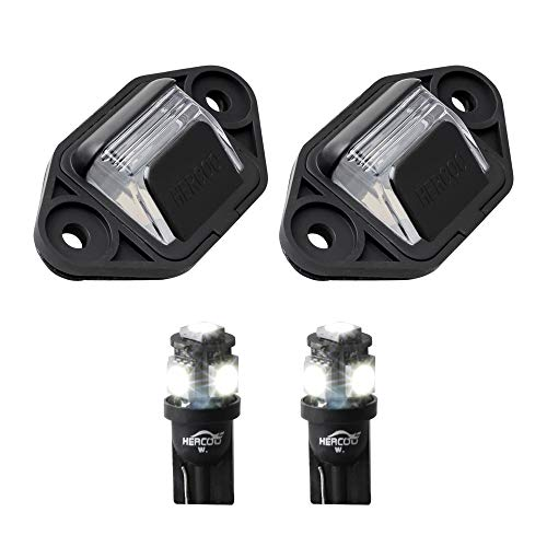 HERCOO LED License Plate Light Lamp Lens White Bulbs Black Clip Housing Compatible with 1999-2014 Ford E-150 E-250 E-350 E-450 E-550 Super Duty Econoline Pickup Truck Rear Step Bumper, Pack of 2