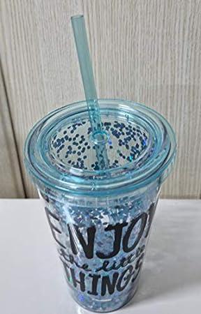 Vaso de acrilico con tapa enrroscable y paja reutilizable. libre de BPA doble pared con purpurina para bebidas frias