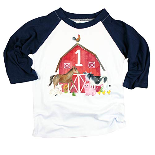 1st Birthday Boy Outfit Farm Animal First Birthday Shirt for Baby boy Navy 3/4 Sleeve Raglan