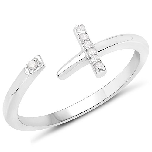 LoveHuang 0.04 Carats Genuine White Diamond (I-J, I2-I3) Cross Ring Solid .925 Sterling Silver With Rhodium Plating ()