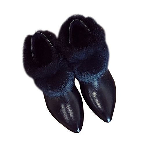 Toe Womens Slippers Slip Chic Fur by Pointy Black On Slduv7 Backless Mule Faux Loafer z4qxBqF
