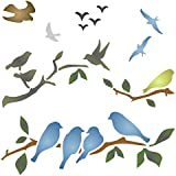 Stencils for Walls - Birds on Branches Stencil - 10 x 10 inch (L) - Reusable Bird Branch Silhouette Stencils for Painting - Use on Walls, Floors, Fabrics, Glass, Wood, and More…