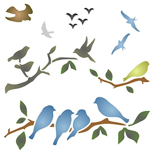 Birds on Branches Stencil - 10 x 10 inch (L) - Reusable Bird Branch Silhouette Stencils for Painting - Use on Walls, Floors, Fabrics, Glass, Wood, and - Outs Wallpaper Cut Border