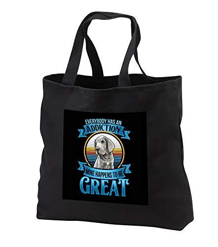 - 3dRose Sven Herkenrath Dog - Everybody has an Addiction with Great Dane Dog - Black Tote Bag JUMBO 20w x 15h x 5d (tb_317127_3)