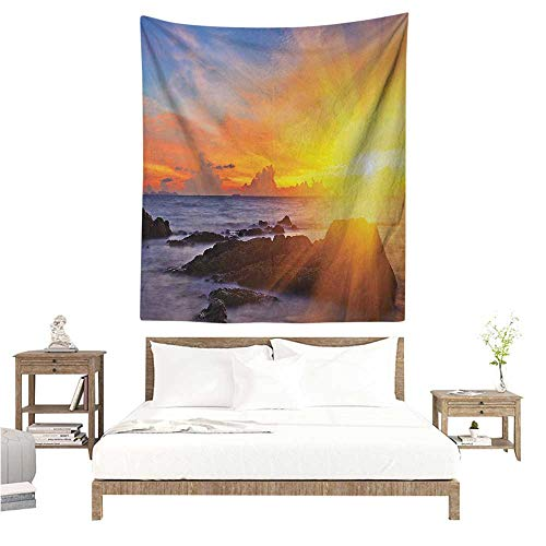 Marilds Beach DIY Tapestry Colorful Sunset with Romance in The Sky at Tropic Beach Fantasy Landscape Print Home Decorations for Bedroom Dorm Decor 70W x 84L INCH Orange Blue