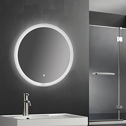 SUNNY SHOWER 24'' Circle Backlit Led Bathroom Vanity Sink Silvered 4mm Mirror with Touch Button by SUNNY SHOWER