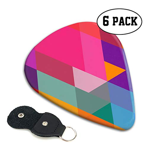 BLDBZQ Colorful Triangle Celluloid Guitar Picks Premium Picks 6 Pack for Guitar,Mandolin,and Bass 0.46mm, 0.71mm, 0.96mm Optional with PU Leather Pick Holder