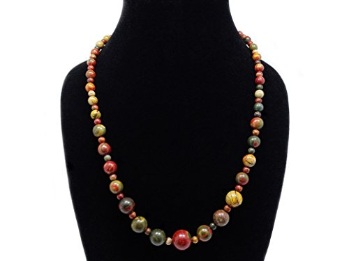 jennysun2010 Handmade Natural Picasso Jasper Gemstone Beads 4~12mm Graduated Adjustable Necklace Healing (18 Adjustable up to 30)