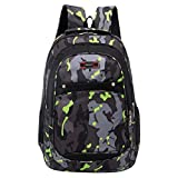 ManxiVoo Teenager Students Camouflage Print School Backpack Multi Pockets Student Bags for Children Kids Sports Hiking Travel Packsack Knapsack (Green)