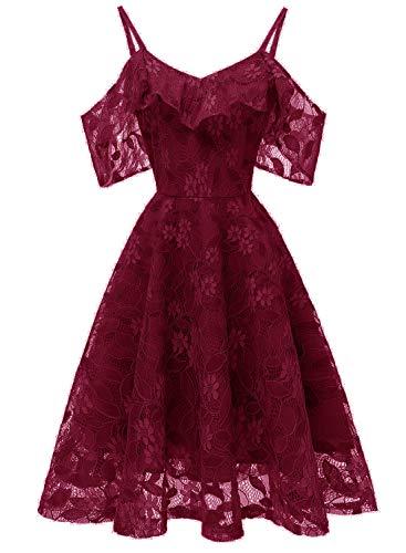 a0d8a073552e Pizzo Sexy Vestiti Rosso Vino V Scollo Con Da Cerimonia Keluosi Sera  Vestito Elegante Donna A anR4q