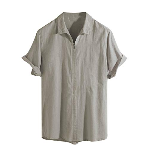 (LUCAMORE Mens Solid Loose Fit Linen Shirts Short Sleeve Casual Zip Up Summer Shirts Tops Blouse Khaki )
