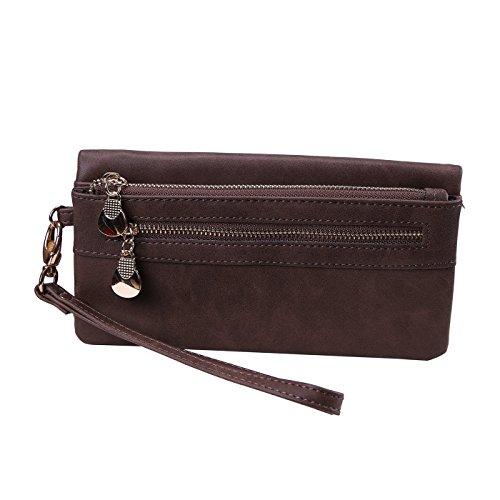 HDE Women's Leather Wallet Clutch Multi-Function Zippered Wristlet Purse by HDE