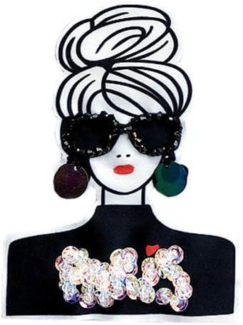 スパンコール ワッペン ガール PARIS 女性 手芸 デコ ダンス 入園 入学 わっぺん WAPPEN アップリケ かわいい