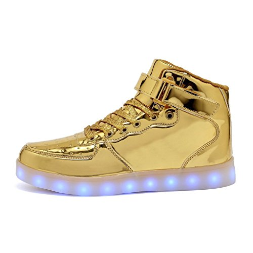 High Top Light Color Sneaker LED Gold USB up Mens Womens Charger 11 Shoes amp; LED amp; for Light rUwxSdrq