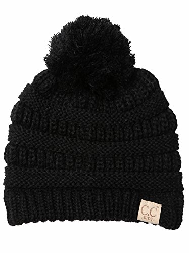 H-6847-06 Girls Winter Hat Warm Knit Slouchy Toddler Kids Pom Beanie - Black