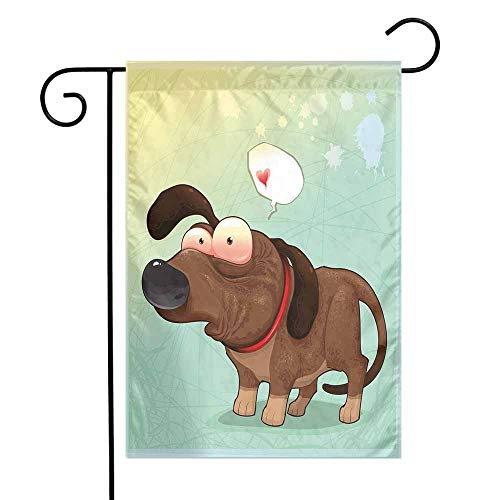 Mannwarehouse Funny Garden Flag Puppy in Love Werner Dog Romance Confusion Humor Caricature Style Pet Graphic Premium Material W12 x L18 Brown Almond Green
