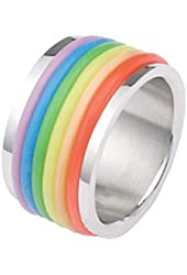 Rubber Rainbow Flag Ring - Gay & Lesbian Pride Stainless Steel Ring w/ Enamel Rainbow.