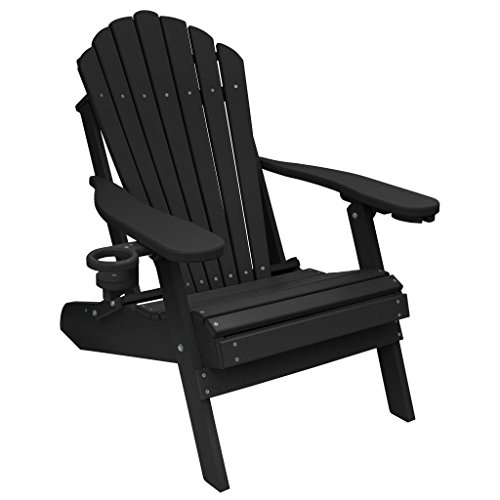 ECCB Outdoor Outer Banks Deluxe Oversized Poly Lumber Folding Adirondack Chair Black
