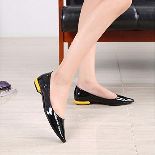 QIYUN.Z Las Mujeres Elegantes Atractiva Puntiagudo Partido Punta De Charol Color Del Caramelo De Los Zapatos Planos Del Talon Negro