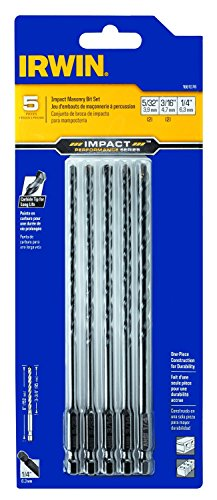 IRWIN Tools 1881078 Impact Performance Series Masonry 6-Inch Drill Bit Mixed Set, 5-Piece