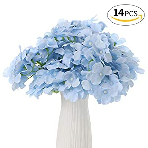 Anndason 14 PCS Artificial Flowers Silk Artificial Fake Flowers Wedding Party Home Decoration (Light Blue) 29