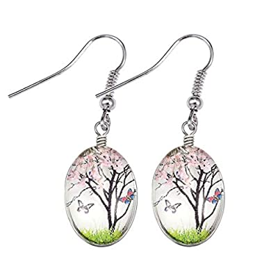Crystal Earrings Dried Flower Drop Dangle Earrings Ethnic Style Sen Earrings Lightweight Handmade Statement Earrings Jewelry For Women Girls Gifts (Pink): Jewelry