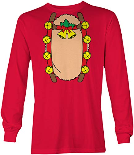 Reindeer Costume - Rudolph Red Nosed Long Sleeve Youth Shirt (Red, -