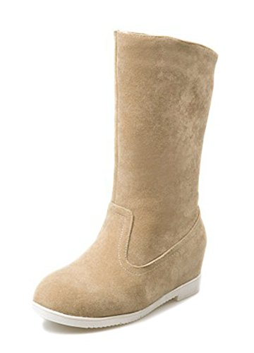 Aisun Womens Simple Comfort Round Toe Elevator Low Heels Slip On Mid Calf Boots Shoes Camel