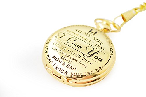 Perfect Gifts For Son - Engraved 'To My Son - Love Dad and Mom' Gift to Son | Mother to Son Gifts, Birthday/Graduation Present, Xmas Present with Black Gift Box Dad to son (I love you) by Keswon Gifts (Image #4)