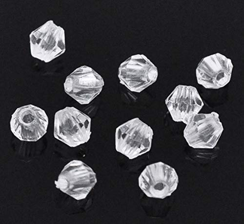 (Ochoos Acrylic Spacer Beads Bicone White Transparent About 4mm(1/8