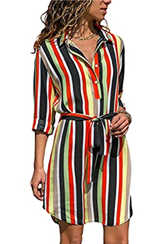 PRETTYGARDEN Women's Stripe Printed Hi-Lo Hem Side Split Roll-up Long Sleeve Button Down Collar Belted Midi Shirt Dress Tops (Multicoloured-2, Small) (Belted Straw Belt)