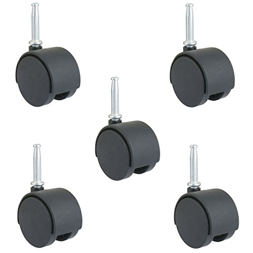 2-Inch Office Chair Caster - Pack of 5, Twin Wheel, 5/16-Inch Stem Diameter, 1.5