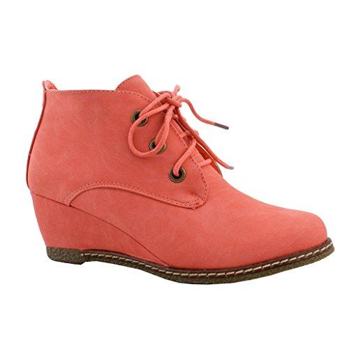 Scarpe Da Donna Alte Sneakers Con Zeppa Stringate Con Lacci Bootie Tendenze Snj Scarpe In Salice Color Corallo