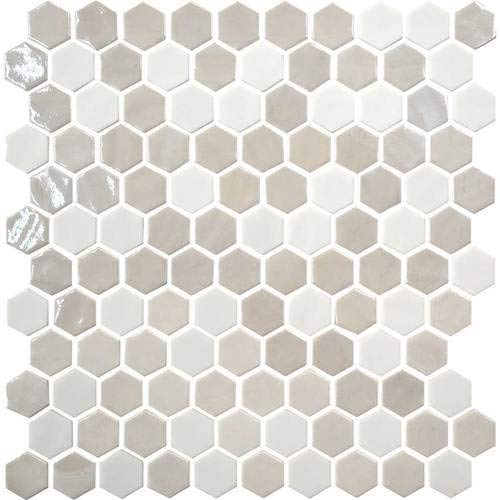 Daltile Uptown Glass Alabaster 1 Hexagon Backsplash Tile Mosaic UP17