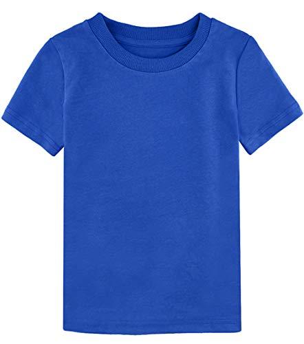 - COSLAND Toddler Plain T-Shirt Short Sleeves 100% Cotton Tee (Royal Blue, 2T)