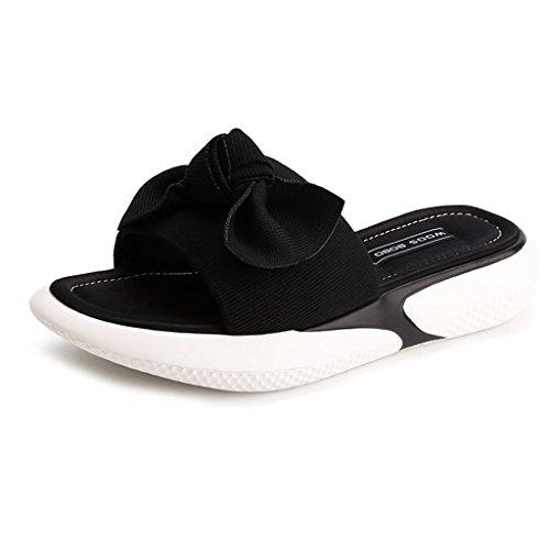 Black Toe Women's Sandals Slip Slide GIY Heeled Platform Peep Comfort Slipper Sport Sandal Wedges On 1Yw6xA