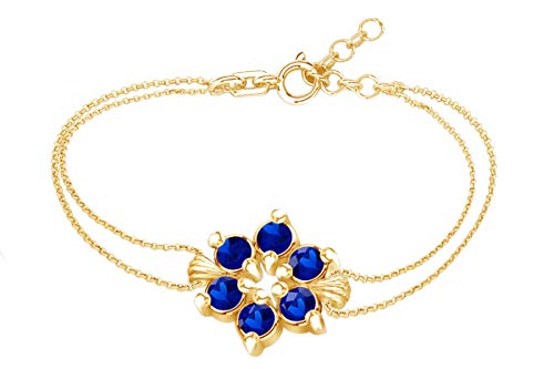 AFFY Mothers Day Jewelry Gifts Round Shape Simulated Blue Sapphire Flower Chain Bracelets in 14k Yellow Gold Over Sterling Silver -7.5