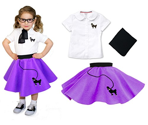Toddler 3 Piece Poodle Skirt Costume Set Purple 2T